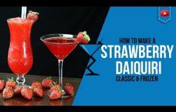 Strawberry Daiquiri Classic & Frozen  – How to make a Strawberry Daiquiri Cocktail Recipe (Popular)